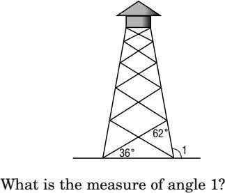 62 ˚ 1 36 ˚ What is the measure of angle 1?