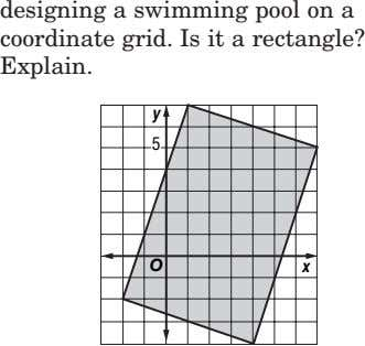 designing a swimming pool on a coordinate grid. Is it a rectangle? Explain. y 5