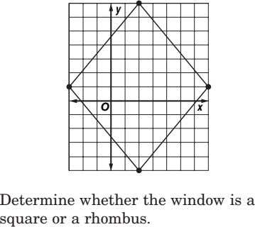 y O x Determine whether the window is a square or a rhombus.