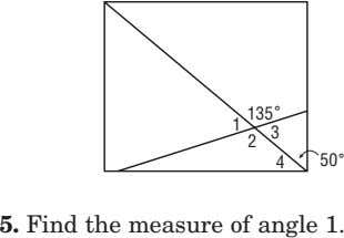 135 ˚ 1 2 3 4 50 ˚ 5. Find the measure of angle 1.