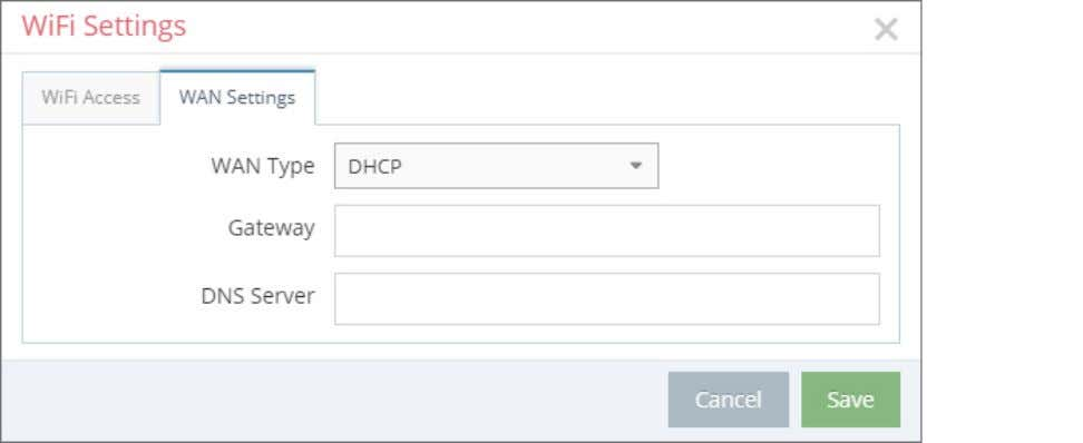 - First Steps WAN Settings - WAN Type: DHCP WAN settings – Type: DHCP Select this