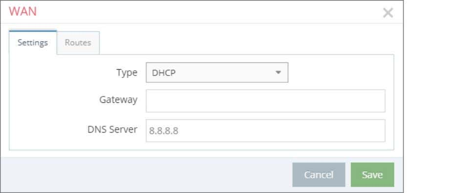- First Steps 5.4.4 WAN Settings WAN Type: DHCP WAN settings – Type: DHCP Select this
