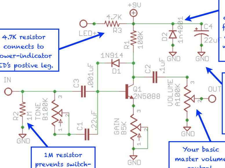 cap filters power supply for quieter operation. 1M resistor prevents switch- popping noise. ©2011 by Joe