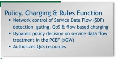 Policy, Charging & Rules Function   Network control of Service Data Flow (SDF) detection, gating,