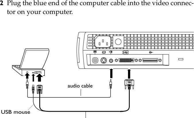 2 Plug the blue end of the computer cable into the video connec- tor on