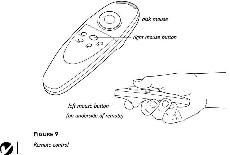 disk mouse right mouse button left mouse button (on underside of remote) FIGURE 9 Remote