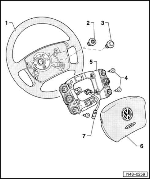 69-49 5 - Mounting plate 6 - Airbag unit Due to different securing systems, only