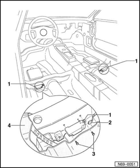 69-61 Sensor for side airbag driver/passenger, removing and installing 1 - Sensor driver-/passenger side 2