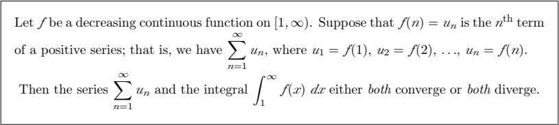 Let f be a decreasing continuous function on [1, ∞). Suppose that f (n) =