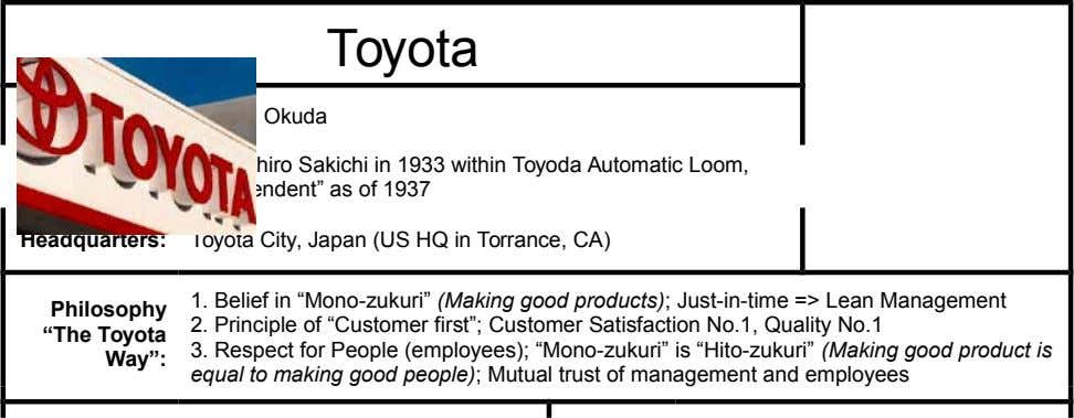 "Toyota Chairman: Hiroshi Okuda Founded: By Kiichiro Sakichi in 1933 within Toyoda Automatic Loom, ""independent"" as"