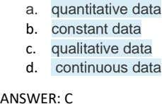 a. quantitative data b. constant data c. qualitative data d. continuous data ANSWER: C