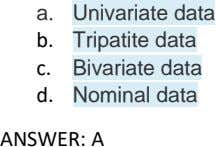 a. Univariate data b. Tripatite data c. Bivariate data d. Nominal data ANSWER: A