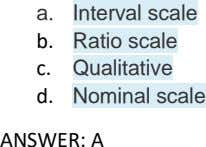 a. Interval scale b. Ratio scale c. Qualitative d. Nominal scale ANSWER: A