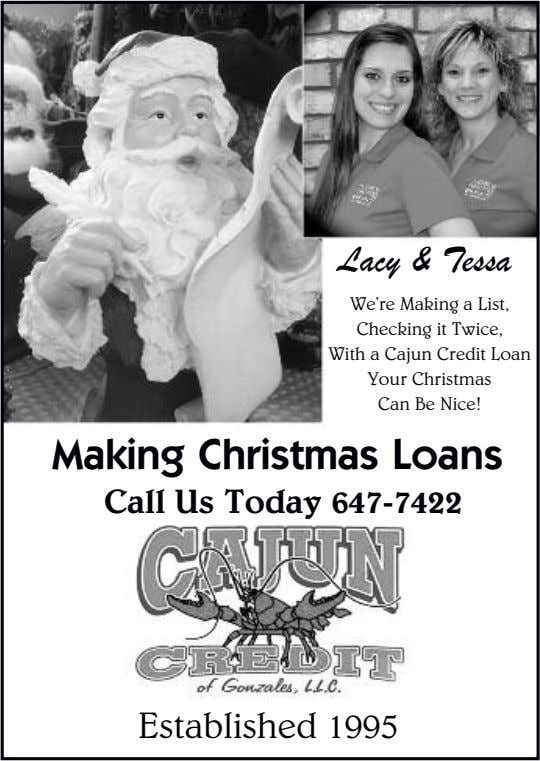 Lacy & Tessa We're Making a List, Checking it Twice, With a Cajun Credit Loan