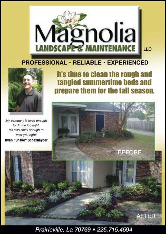 LLC PROFESSIONAL • RELIABLE • EXPERIENCED It's time to clean the rough and tangled summertime