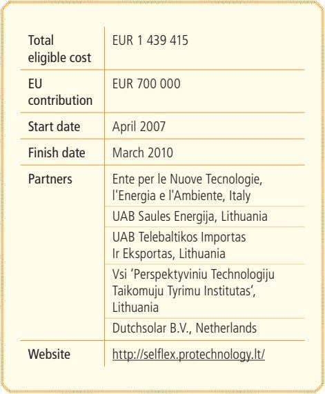 Total EUR 1 439 415 eligible cost EU EUR 700 000 contribution Start date April