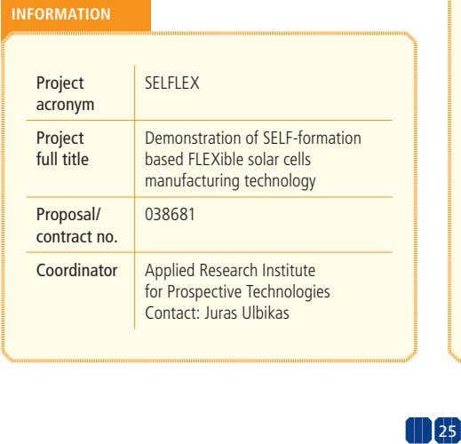 INFORMATION Project SELFLEX acronym Project full title Demonstration of SELF-formation based FLEXible solar cells