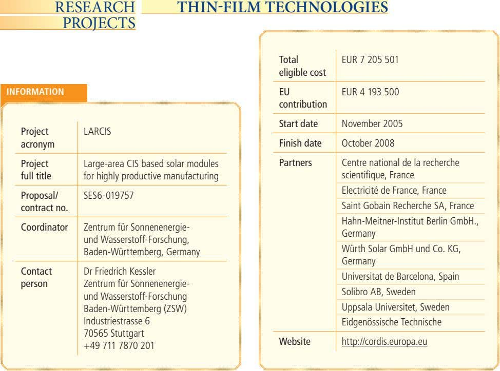 RESEARCH THINFILM TECHNOLOGIES PROJECTS Total EUR 7 205 501 eligible cost INFORMATION EU EUR 4