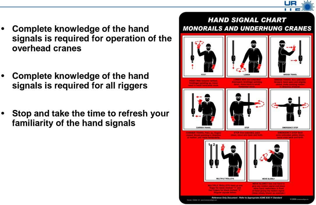 • Complete knowledge of the hand signals is required for operation of the overhead cranes