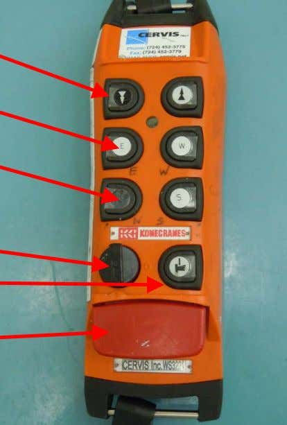of a remote controller labeled with the compass points • Move hoist up and down •