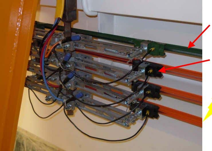 current (power) from runway or bridge conductors (buss) Conductor with outer insulation (orange and green) Collector