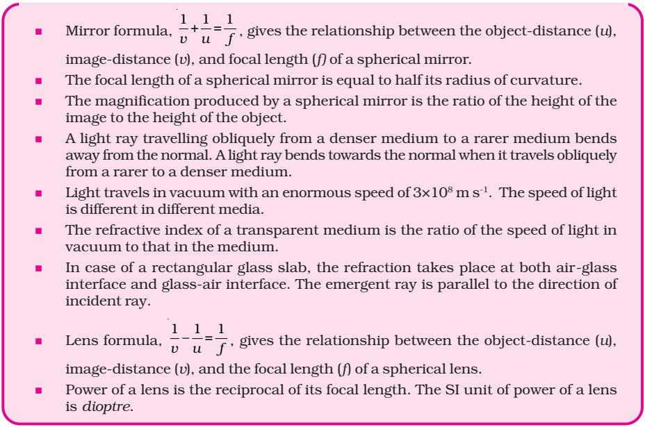111 + = Mirror formula, f , gives the relationship between the object-distance (u), vu