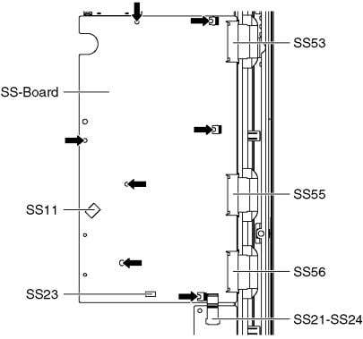 SS55 and SS56). 5. Disconnect the bridge connector (SS21-SS24). 6. Remove the screws ( × 7
