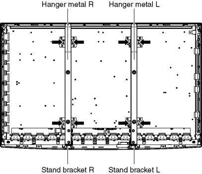 screws ( × 4 each) and remove the Hanger metals (L, R). 3. Remove the Stand
