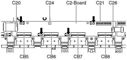 6. Remove the screws ( × 4 ) and remove the C2-Board. 7.18. Remove the C3-Board