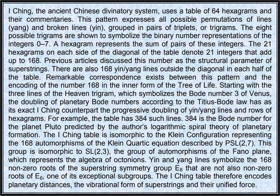 I Ching, the ancient Chinese divinatory system, uses a table of 64 hexagrams and their