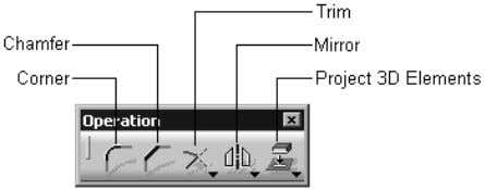 to edit the drawn sketches. Figure 1-19 shows the buttons in the Operation toolbar. Figure 1-19