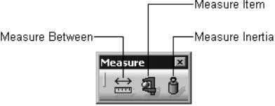 Figure 1-23 shows the buttons in the Measure toolbar. Figure 1-23 The Measure toolbar Transformation Features