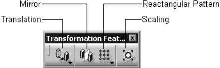 shows the buttons in the Transformation Features toolbar. Figure 1-24 The Transformation Features toolbar Apply