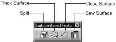 shows the buttons in the Surface-Based Features toolbar. Figure 1-26 The Surface-Based Features toolbar Wireframe