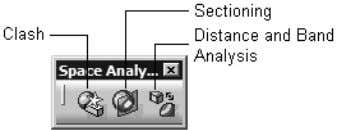 1-33 shows the buttons in the Space Analysis toolbar. Figure 1-33 The Space Analysis toolbar Drafting