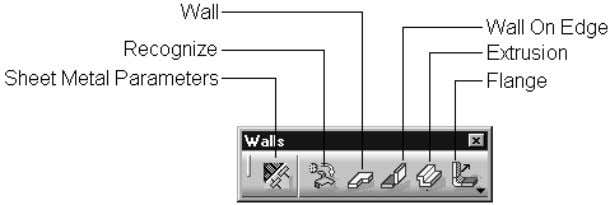 types of walls. Figure 1-38 shows a Walls toolbar. Figure 1-37 The fl yout that appears