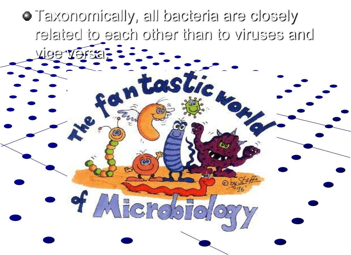 Taxonomically, all bacteria are closely related to each other than to viruses and vice versa.