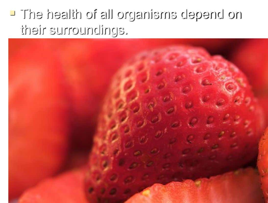  The health of all organisms depend on their surroundings.