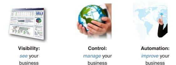 Visibility: Control: Automation: see your manage your improve your business business business