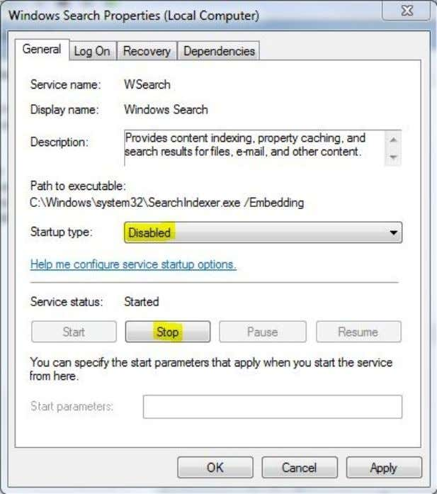 Disable Windows 7 Indexing Is your CPU working a lot even if you don't do anything