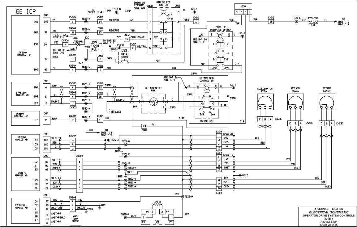 XS4320-0 OCT 06 ELECTRICAL SCHEMATIC OPERATOR DRIVE SYSTEM CONTROLS 930E-4 A30462 & UP Sheet 20