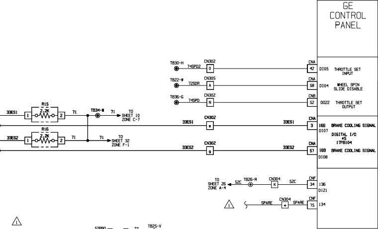 OCT 06 ELECTRICAL SCHEMATIC PARKING BRAKE & GE INPUTS / OUTPUTS 930E-4 A30462 & UP Sheet