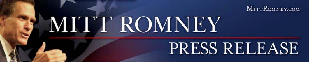 FOR IMMEDIATE RELEASE April 4, 2007 CONTACT: Kevin Madden (857) 288-6390 ROMNEY FOR PRESIDENT LAUNCHES