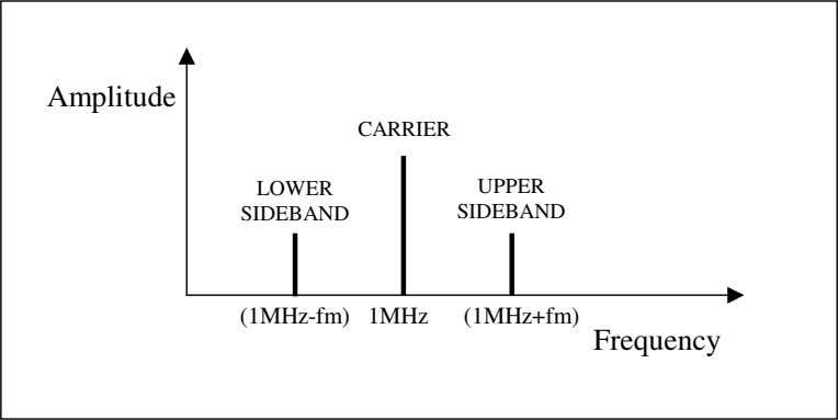 Amplitude CARRIER LOWER UPPER SIDEBAND SIDEBAND (1MHz-fm) 1MHz (1MHz+fm) Frequency