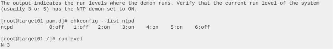 The output indicates the run levels where the demon runs. Verify that the current run