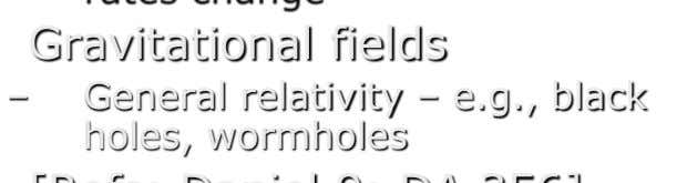 Gravitational fields General relativity – e.g., black holes, wormholes