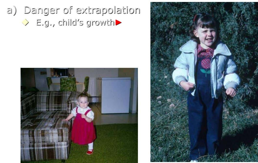 a) Danger of extrapolation  E.g., child's growth►