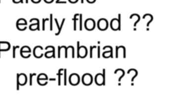 one suggested model Cenozoic post flood ?? Mesozoic late flood ?? Paleozoic early flood ?? Precambrian