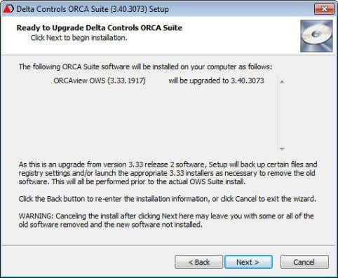 the following figure, 3.33.1917 can be upgraded to 3.40.3073 6. The Ready to Upgrade dialog box