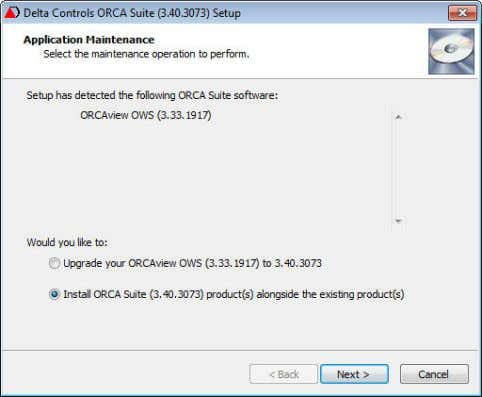 "5. Application Maintenance: Detected ORCA Suite Software a. Select the second option ""Install ORCA Suite"